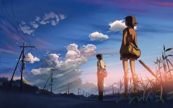 Konachan.com - 34177 brown_hair byousoku_5_centimetre clouds grass scenic seifuku shinkai_makoto short_hair skirt sky sumida_kanae toono_takaki